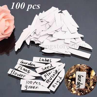 100 Pcs Plant Mraker Labels Reusbale Flexible Plastic Tag Seedling Garden 5x1cm