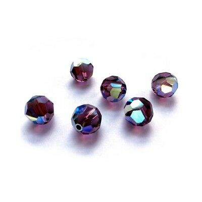 Strand 70+ Violet Czech Crystal Glass 6mm AB Faceted Round Beads HA20420