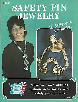Safety Pin Jewelry Alberta Ballengee Vintage 1972 Beading Pattern Book NEW OOP