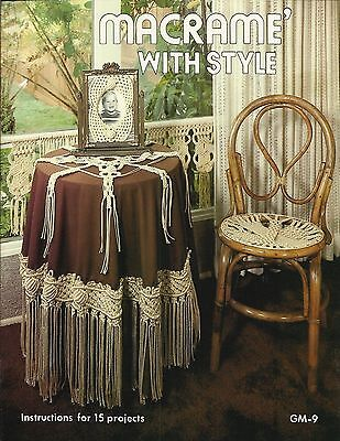 Macrame With Style Vintage Pattern Book Tablecloth Valance Clock NEW 1977