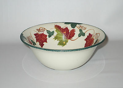 """Poole Pottery Bowl Autumn Leaves Green Rust Red 6 1/2"""" Hand Painted England"""