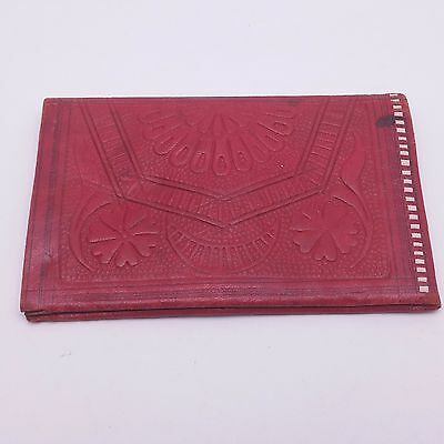 Beautiful Vintage Red Leather Embossed Bifold Wallet