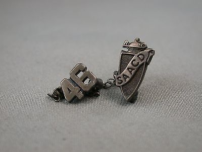 S.A.A.C.D SAACD School Fraternal Lapel Pin Two Piece With Date Pin 1946 & Chain