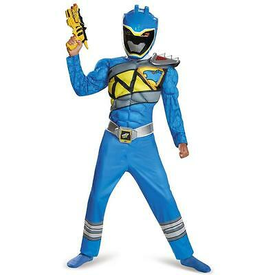 Blue Power Ranger Dino Charge Child Boys Muscle Chest Costume