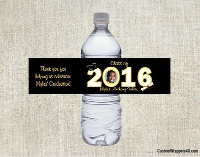 Graduation Graduate ANY YEAR YOUR PHOTO Party Favors Water Bottle Labels Custom