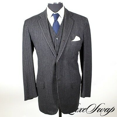 Vintage Bespoke Brooks Brothers 1950s Deep Charcoal Pinstripe 3 Piece Suit RARE