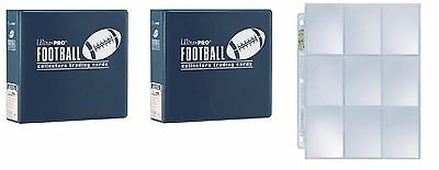"Lot of 2 Ultra Pro 3"" Blue Football D-Ring Albums & new box 100 9 pocket pages"