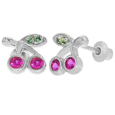 Rhodium Plated Fuchsia Crystal Cherries Screw Back Earrings Toddlers Kids