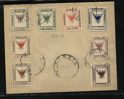 Albania  54-61  cancelled stamps on cover      KL0110