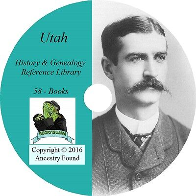 58 old books History & Genealogy of UTAH families ancestry Salt Lake UT CD DVD