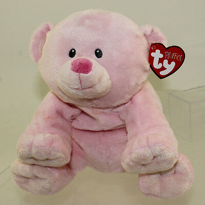 TY Pluffies - BABY WOODS PINK the Bear (9 inch) *NM*