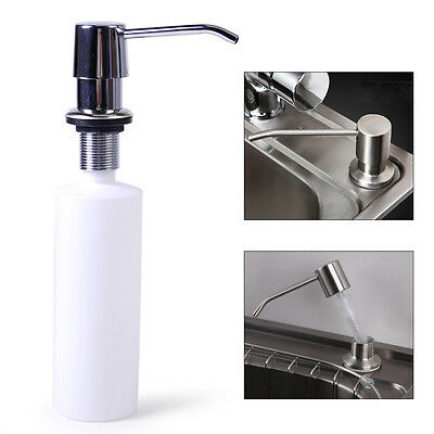 Kitchen Bathroom Sink Soap Lotion Dispenser Stainless Steel Head + ABS Bottle