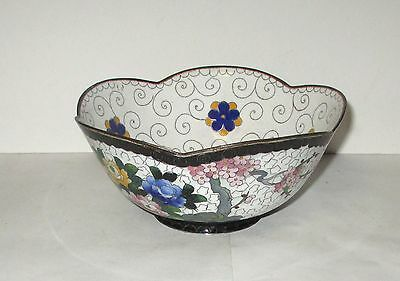 Floral Blossoms Cloisonne White Enamel Inaba Bowl Signed
