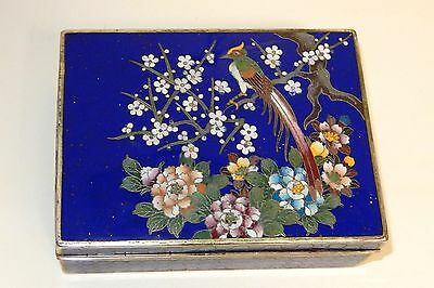 Kyoto Inaba Floral Bird Cloisonne Blue Enamel Humidor Box Signed