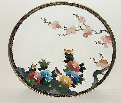 """Inaba Cloisonne White Enamel Floral Blossom 7""""1/4 Plate Signed Made For Gump's"""