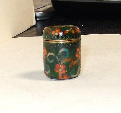 Cloisonne Ginbari Green Enamel Small Floral Designed Thimble Jar Box