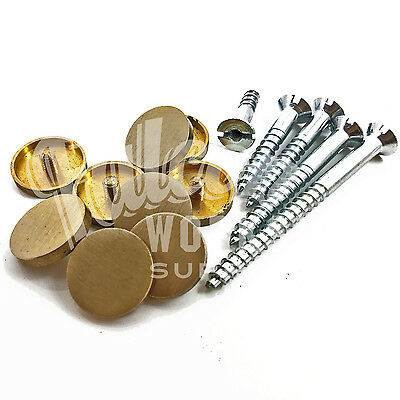"""Brushed Satin Brass Finish With 1.1/4"""" Screws Fixings Bathroom Brushed Flat Top"""