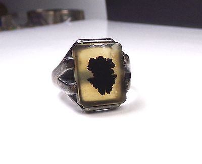 Old Sterling Silver 925 Montana Moss Agate Ring Estate Mens Art Deco Style W/BOX