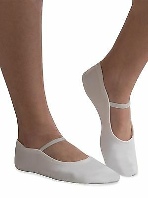 GK Elite GK21 White Suede Sole Gymnastics Dance Slippers, Adult Size 6 NEW