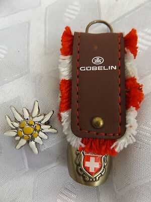 Gubelin watch logo ~ Cow Bell brass and leather + Edelweiss badge vintage Swiss