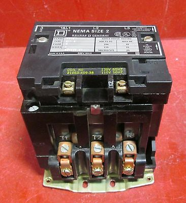 Square D Size 2 Contactor ; class 8502 ; type SD02 3 phase 110-120 coil 8502SD02