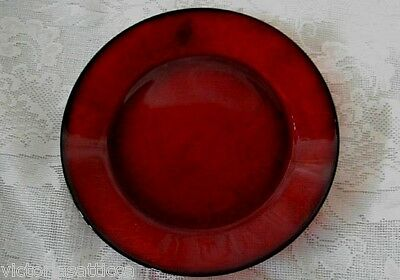 """Collectible Vintage Ruby Red Glass Rimmed 10"""" Dinner Plate - MORE AVAILABLE -NEW"""