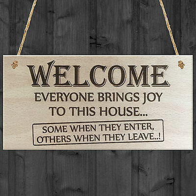 Everyone Brings Joy To This House Novelty Wooden Hanging Plaque Funny Door Sign