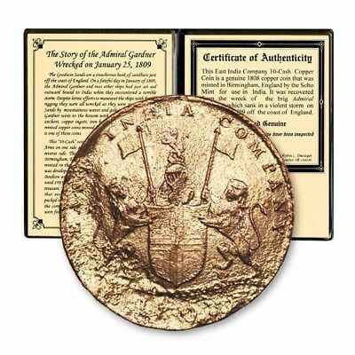 East India Company Admiral Gardner Shipwreck 10 Cash Coin 1808 Booklet COA