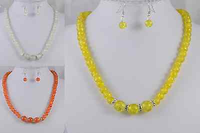 ORANGE, YELLOW 14mm CENTRE GLASS BEAD & RONDELL NECKLACE  SET