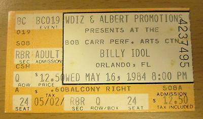 1984 Billy Idol Orlando Concert Ticket Stub Rebel Yell Tour Eyes Without A Face