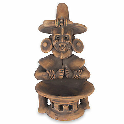 Museum Replica Sculpture Ceramic Figurine 'Olmec Fire God' NOVICA Mexico