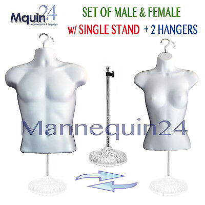 2 Mannequins: MALE & FEMALE TORSO MANNEQUIN FORMS *WHITE + 1 STAND + 2 HANGERS
