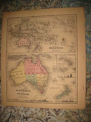 Antique 1860 Oceania Oceanica Australia New Zealand Hawaii Colton Handcolor Map