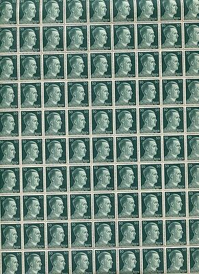 Full And Complete German Wwii Hitler Head Stamp Sheet Of 100 Stamps 50 Rpf Value