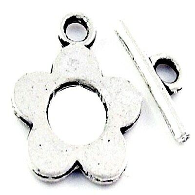 10 x Sets of Tibetan Silver Alloy Flower shaped Toggles Clasps - A6388