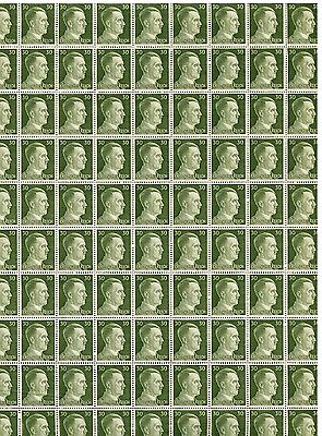 Full And Complete German Wwii Hitler Head Stamp Sheet Of 100 Stamps 30 Rpf Value