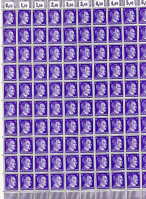 Full And Complete German Wwii Hitler Head Stamp Sheet Of 100 Stamps 6 Rpf Value