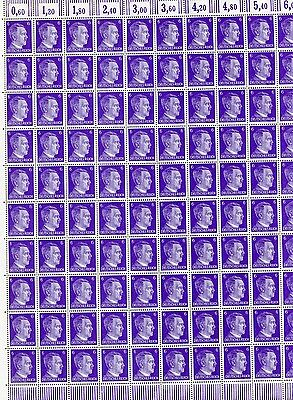 Full And Complete German Wwii Hitler Head Stamp Sheet Of 100 Stamps 12 Rpf Value