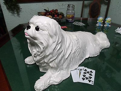 """1973 Rare The Townsends Large Life Sized Pekinese Ceramic Hand Painted """"Signed"""""""
