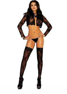 Plus Size Bow Lace Adult Women Hosiery Stockings Thigh High Accent Lace Top