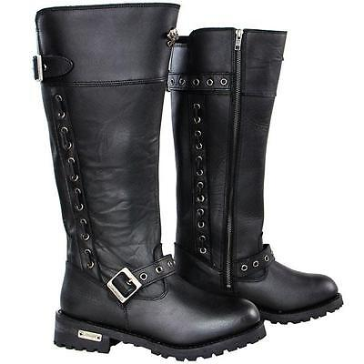 Xelement Women's BLACK Performance Black Myna Leather Boots size 8 1/2