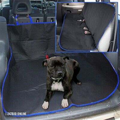 BLACK & BLUE 2in1 WATERPROOF CAR REAR BACK SEAT COVER PET PROTECTOR & BOOT LINER