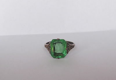 Vintage Antique Art Deco Era Sterling Silver Ring With Green Emerald Rhinestone