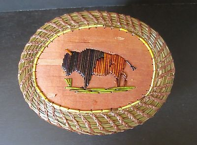 Realistic Buffalo of Porcupine Quill/Coiled Sweetgrass Basket - P St John-Mohawk