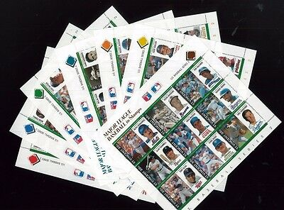 MAJOR LEAGUE BASEBALL IN STAMPS Sheets of 9 (x7) US Series 2- St.VIncent E35