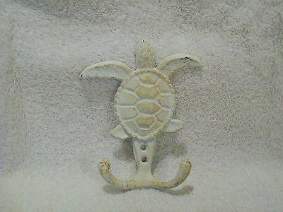 White Distressed Painted Cast Iron Coastal Beach House Turtle Hook