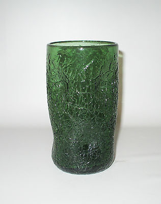 "Dimple Crackle Glass Tumbler Vase Dark Green Pinched 5 3/4"" Hand Made 14 oz"