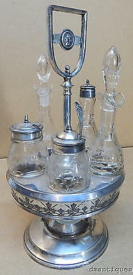 Antique NEW HAVEN Victorian Silverplate Cruet Condiment Set Etched Floral Glass