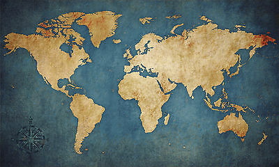 "World Map Modern Abstract Art Grunge CANVAS PRINT 24""X 36"" Vintage Medieval"