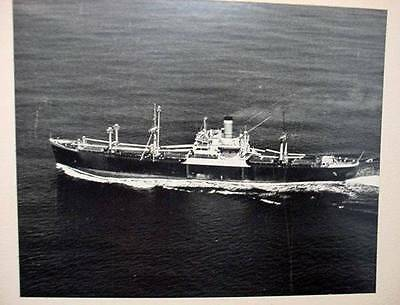 Vintage Black and White Photo Steamship Unknown Tramp Steamer Bulk Carrier